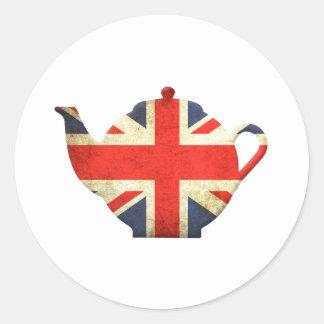 Tetera de Union Jack Británicos Pegatinas Redondas