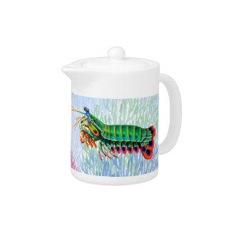 Tetera del camarón de predicador del pavo real