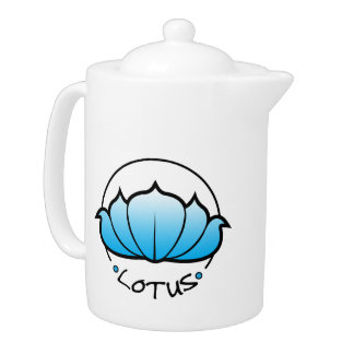 Tetera del flor de Lotus ciánica