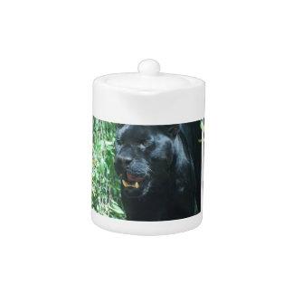 Tetera del gato de pantera negra