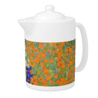 Tetera del jardín de flores de Gustavo Klimt