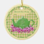 Tetera del tiempo del té del recuerdo ornamento de reyes magos