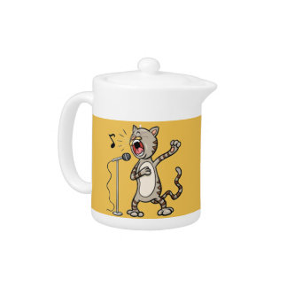 Tetera divertida/amarillo del gato del canto