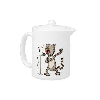 Tetera divertida/blanco del gato del canto