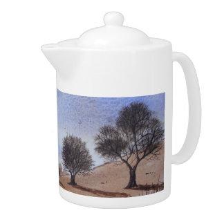 tetera escénica del arte de la pintura del árbol d