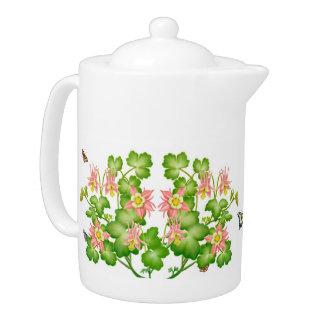 Tetera floral del jardín de Columbine