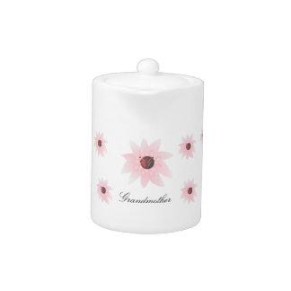Tetera floral rosada personalizada
