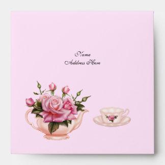 Tetera floral subió melocotón del rosa de la fiest sobres