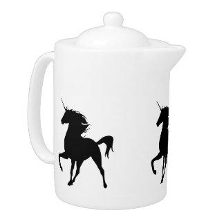 Tetera negra de la silueta del unicornio