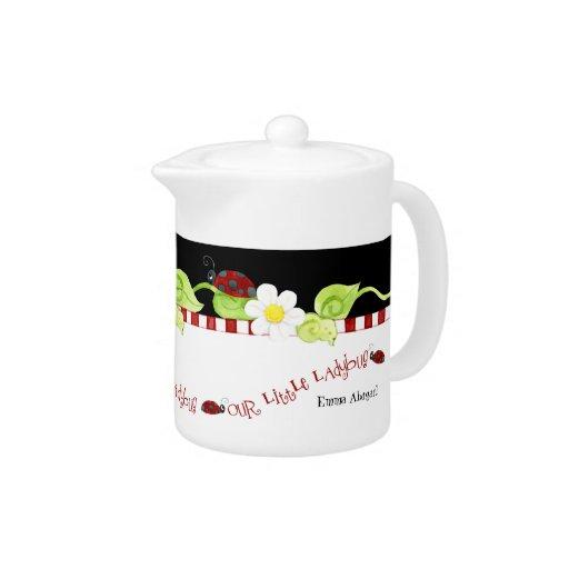 Tetera para las fiestas del té, flor del tamaño de