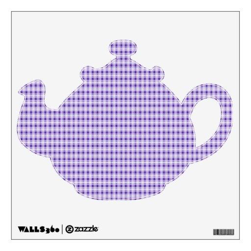 Tetera púrpura de la tela escocesa vinilo adhesivo