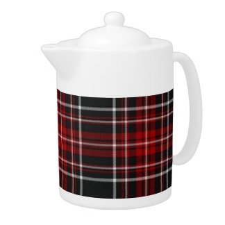 Tetera roja llana del tartán de la tela escocesa