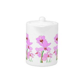 Tetera rosada de la orquídea