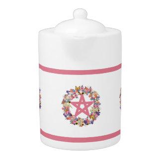 Tetera rosada de la porcelana del pentáculo