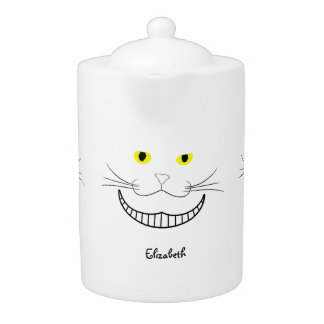 Tetera transparente sonriente del gato de Cheshire