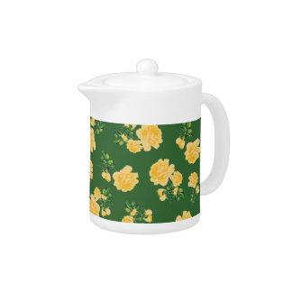Tetera verde china del estampado de flores de los