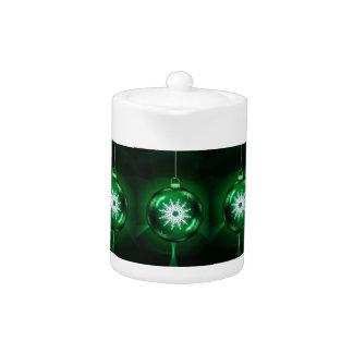 Tetera verde del copo de nieve del navidad