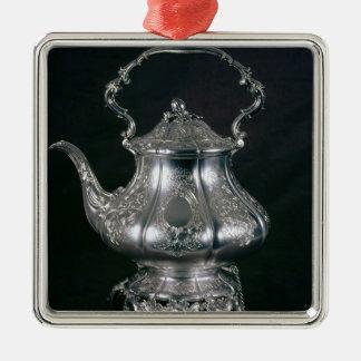 Tetera y caldera con el lampstand y la hornilla adorno cuadrado plateado