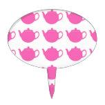 Teteras rosadas brillantes femeninas decoraciones para tartas