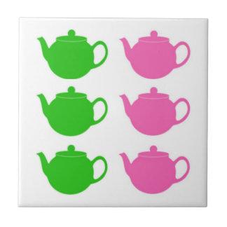 Teteras rosadas y verdes de muy buen gusto azulejo cuadrado pequeño