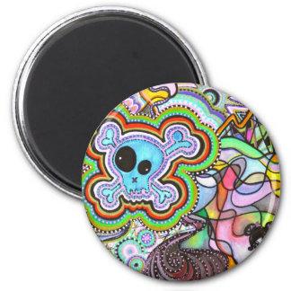têtes de mort 2 inch round magnet