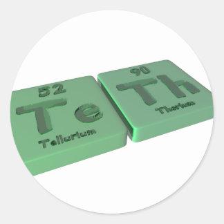 Teth as Te Tellurium and Th Thorium Classic Round Sticker