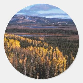 Tetlin Refuge Autumn Landscape Classic Round Sticker