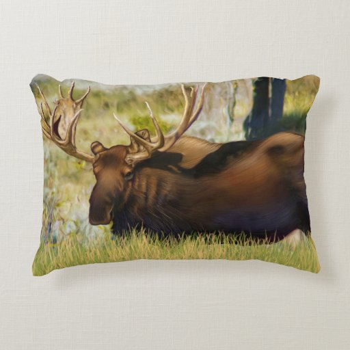 Teton King Moose Bull Accent Pillow