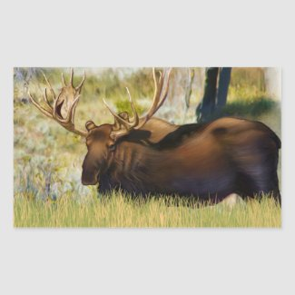 Teton King Moose Bull Rectangular Sticker