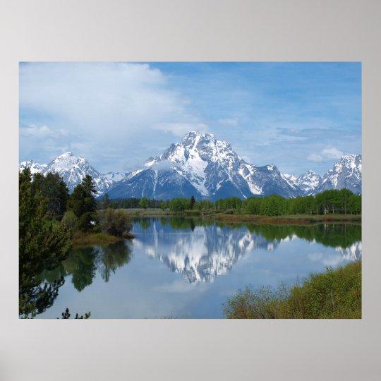 Teton Mountain Reflection Poster