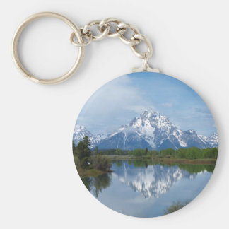 Teton Mountain Reflections Basic Round Button Keychain