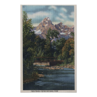 Teton National Park, WY - Twin Peaks View Poster
