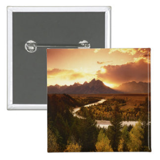 Teton Range at sunset, from Snake River 2 Inch Square Button
