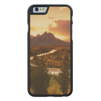 Teton Range at sunset, from Snake River Carved® Maple iPhone 6 Case