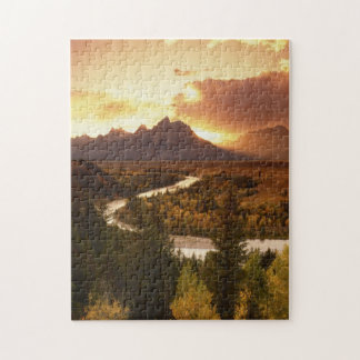 Teton Range at sunset, from Snake River Jigsaw Puzzle