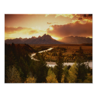 Teton Range at sunset, from Snake River Poster