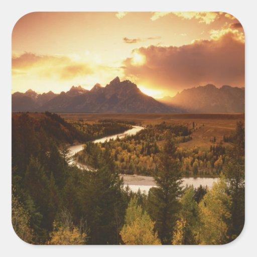 Teton Range at sunset, from Snake River Square Sticker