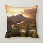 Teton Range at sunset, from Snake River Throw Pillow