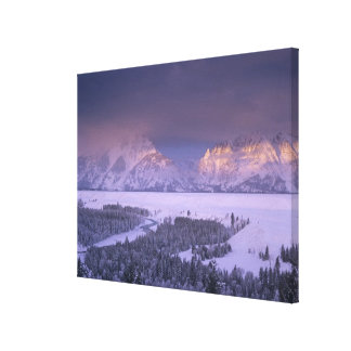 Teton Range from Snake River Overlook, Grand Canvas Print
