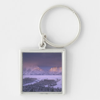 Teton Range from Snake River Overlook, Grand Silver-Colored Square Keychain