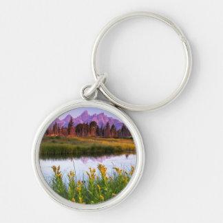 Teton Sunrise Silver-Colored Round Keychain