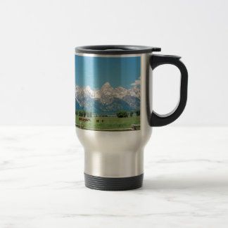 Tetons and Horses Travel Mug