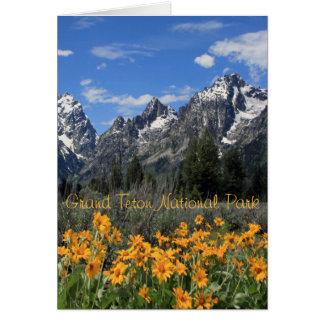 Tetons magnífico con las flores amarillas tarjetón