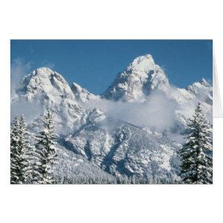 Tetons magnífico en invierno tarjeta de felicitación