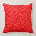 Tetra Red Quatrefoil Throw Pillow