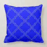 Tetra Royal Blue Quatrefoil Throw Pillow