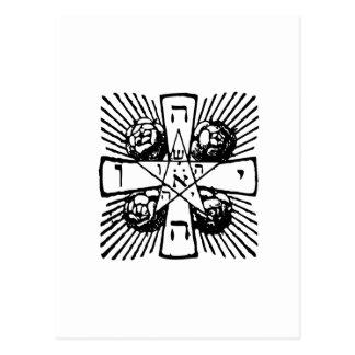 Tetragrammaton cruzado atractivo tarjetas postales