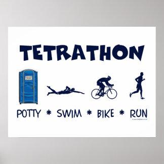 Tetrathon Triathlon T-shirt Poster