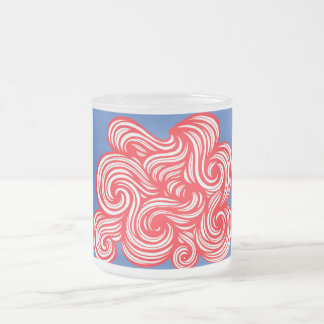 Tetreault Abstract Expression Red Blue 10 Oz Frosted Glass Coffee Mug
