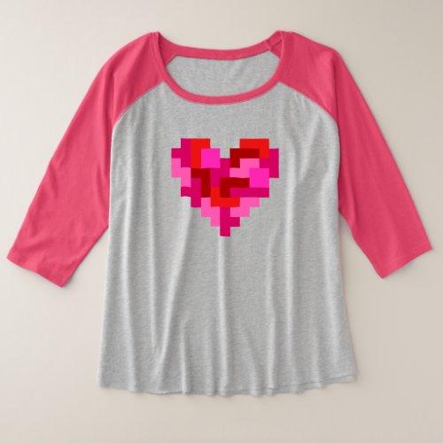 Tetromino Heart Plus Size Raglan T_Shirt